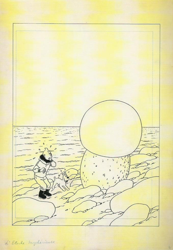 Dessin destiné à la couverture de l'album « L'Étoile mystérieuse ».