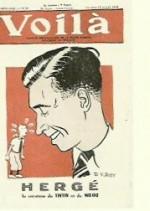 Hergé en couverture du n° 28 de Voilà daté du 10 juillet 1942, caricature de R. van Roy.