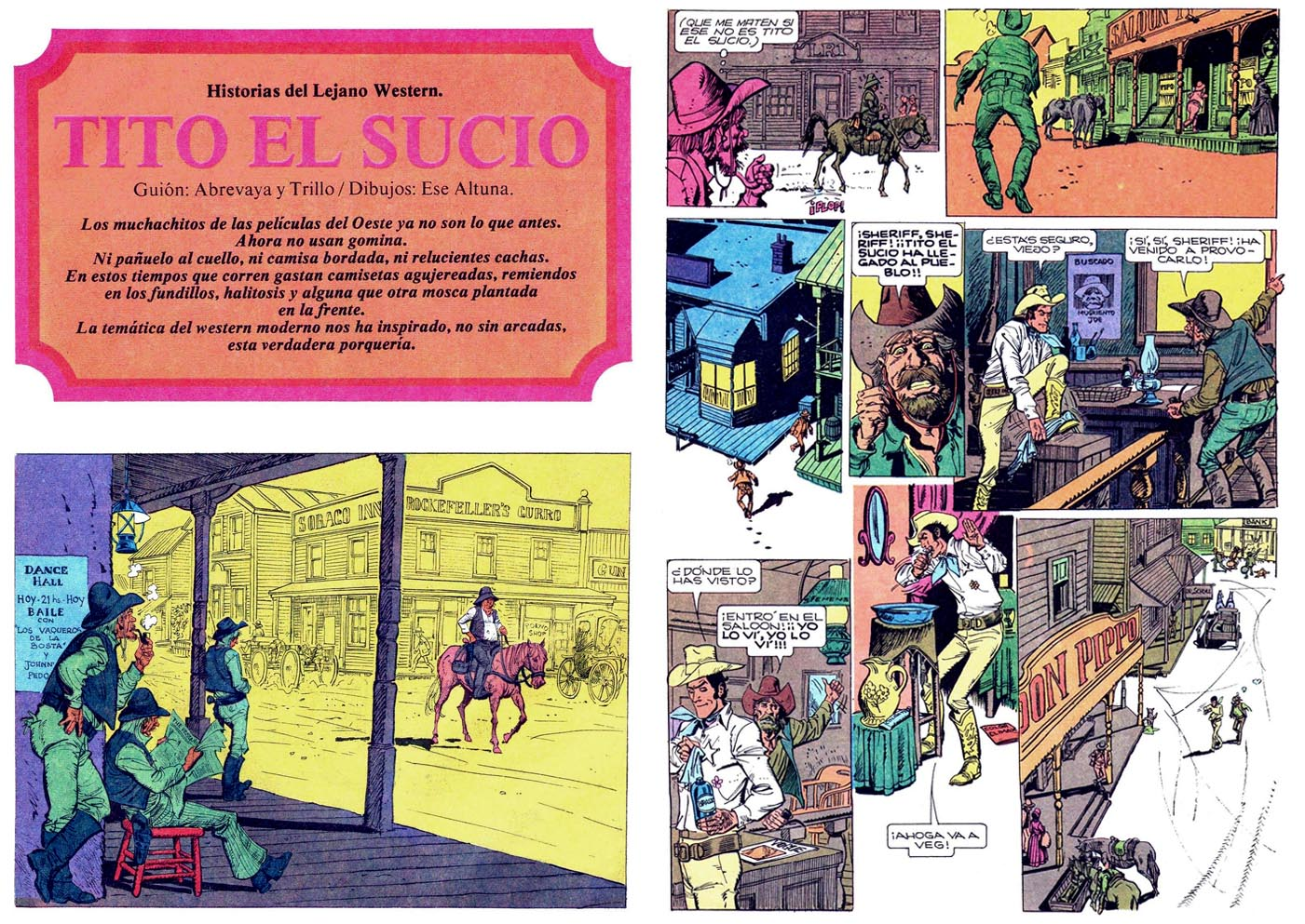 Horacio Altuna et Carlos Trillo (en collaboration avec Carlos Abrevaya) dans Satiricón, en 1974.