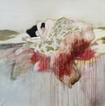 Florence Dussuyer, Philomène, crayon, acrylique, brou de noix, sur toile, 200 x 200cm, 2014