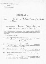 Contrat conclu entre Hergé et Casterman pour la publication de l'album « Le Lotus bleu ».