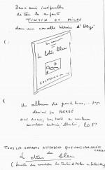 Projet de prospectus publicitaire de Charles Lesne qui montre à quel point nombre d'idées viennent de lui, par exemple les fameuses pages de garde bleues…