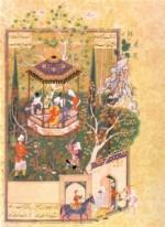 Miniature persanne Le jardin profané, scène du Haft Awrang de Djâmi, entre 1556 et 1565