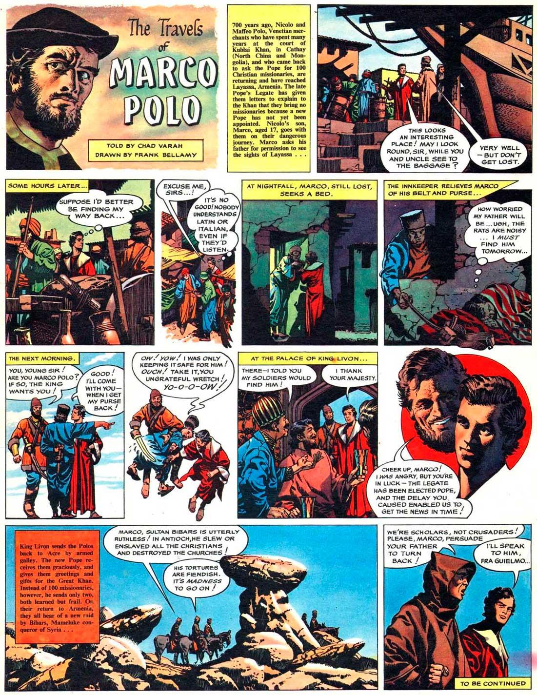 La version originale des « Voyages de Marco Polo » par Frank Bellamy.