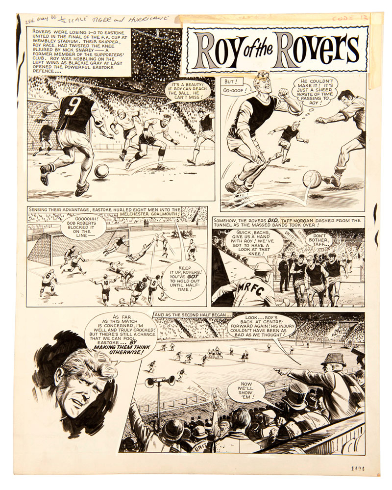 Roy Of The Rovers original artwork by Joe Colquhoun