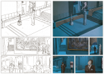 Encrage de la planche 2 du tome 1 et couleurs par Isabelle Merlet (Dupuis, 2012)