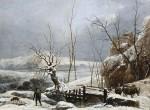 Paysage avec effet de neige par Van Loo (fin 18e siècle)