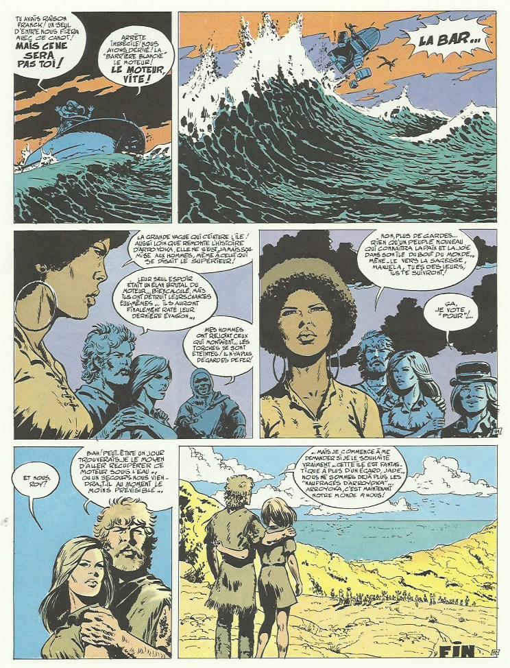 Dernière page des « Naufragés d'Arroyoka » dans Tintin.