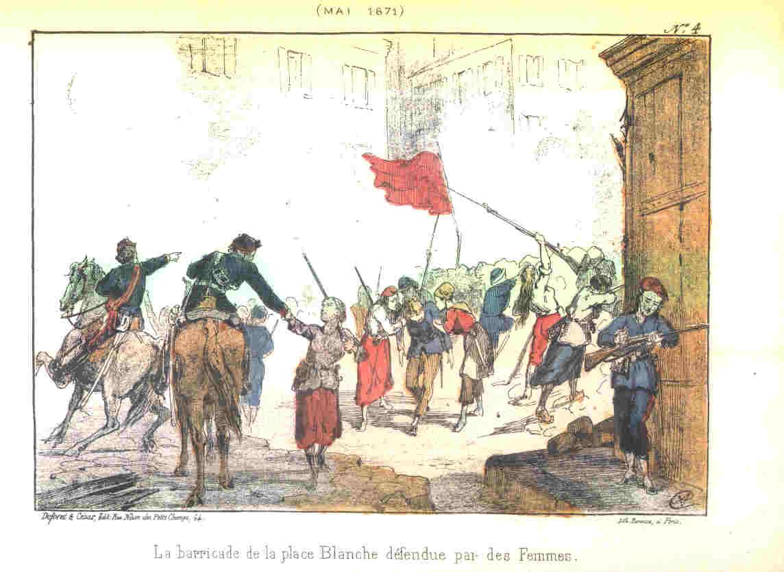Reproduction de la barricade des femmes, Place Blanche, en mai 1871.