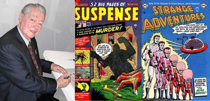 Photo de Murphy Anderson, La couverture de Suspense n° 7 (mars 1951), Strange Adventures n° 40 (janvier 1954).