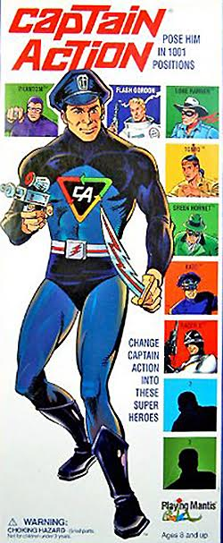 Une boîte de poupée mannequin Captain Action.
