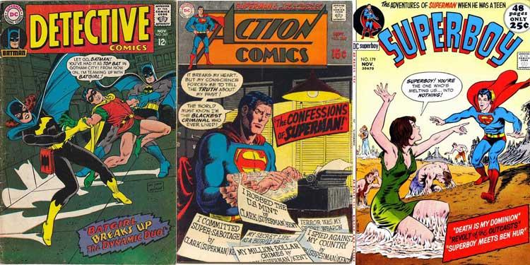 Couvertures de Detective Comics n° 369, d'Action Comics n° 380 et de Superboy n° 179.