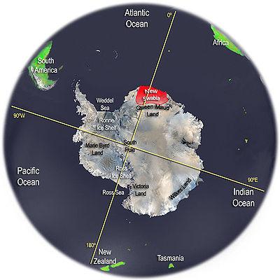 La Nouvelle-Souabe (en rouge) en Antarctique