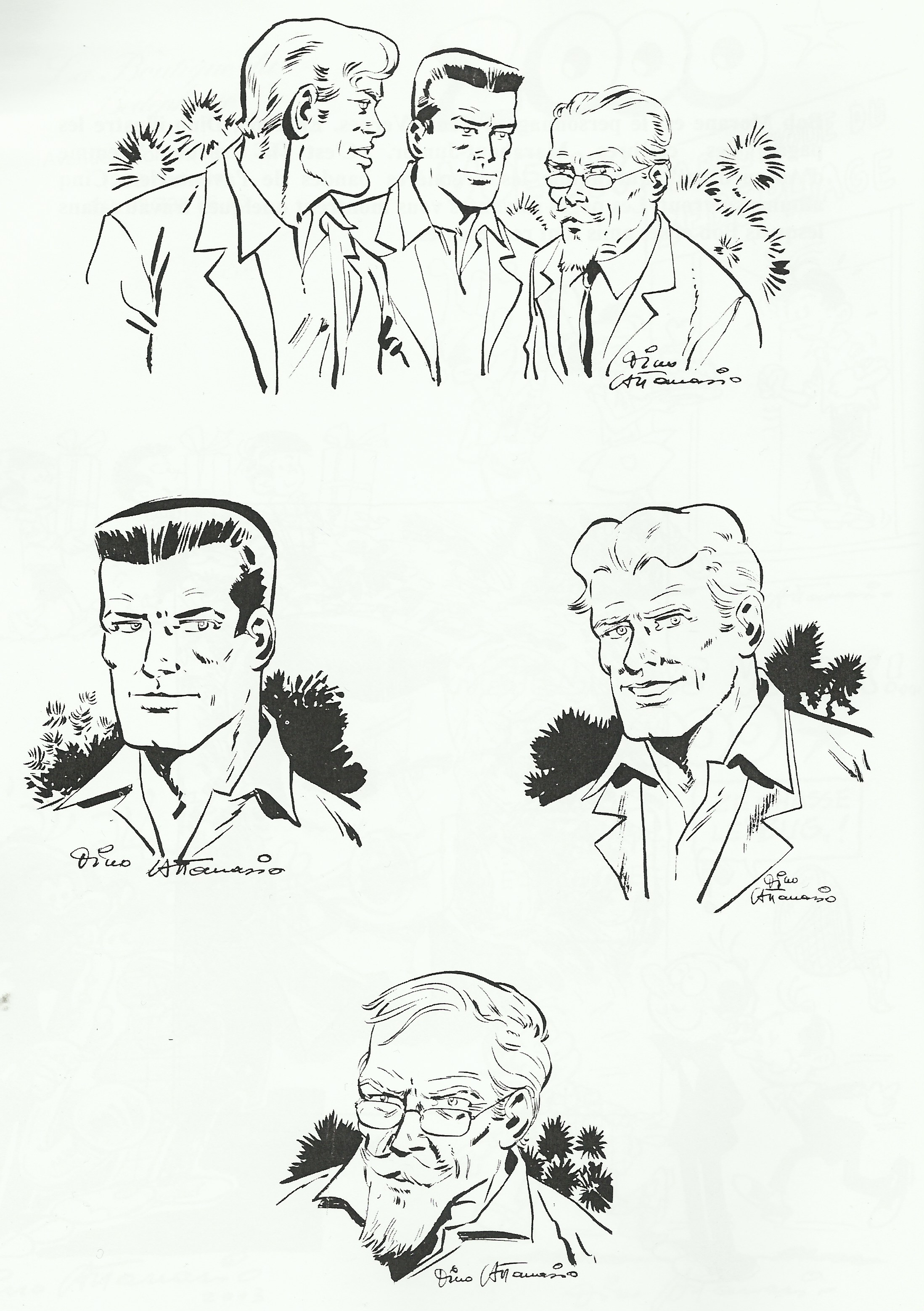 Quelques protagonistes de la série « Bob Morane » dessinés par Attanasio.