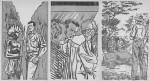 Exemples d'illustrations dues à Dino Attanasio pour les romans avec Bob Morane : celles réalisées pour « Les Monstres de l'espace », Marabout junior n° 86, en 1959.