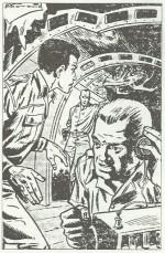 Première illustration de Bob Morane dans « La Vallée infernale ».