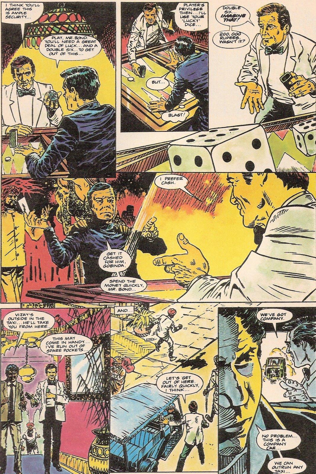 """Deux versions d'une même scène dans """"Octopussy"""" (1983) : une partie de backgammon selon Marvel et selon Semic"""