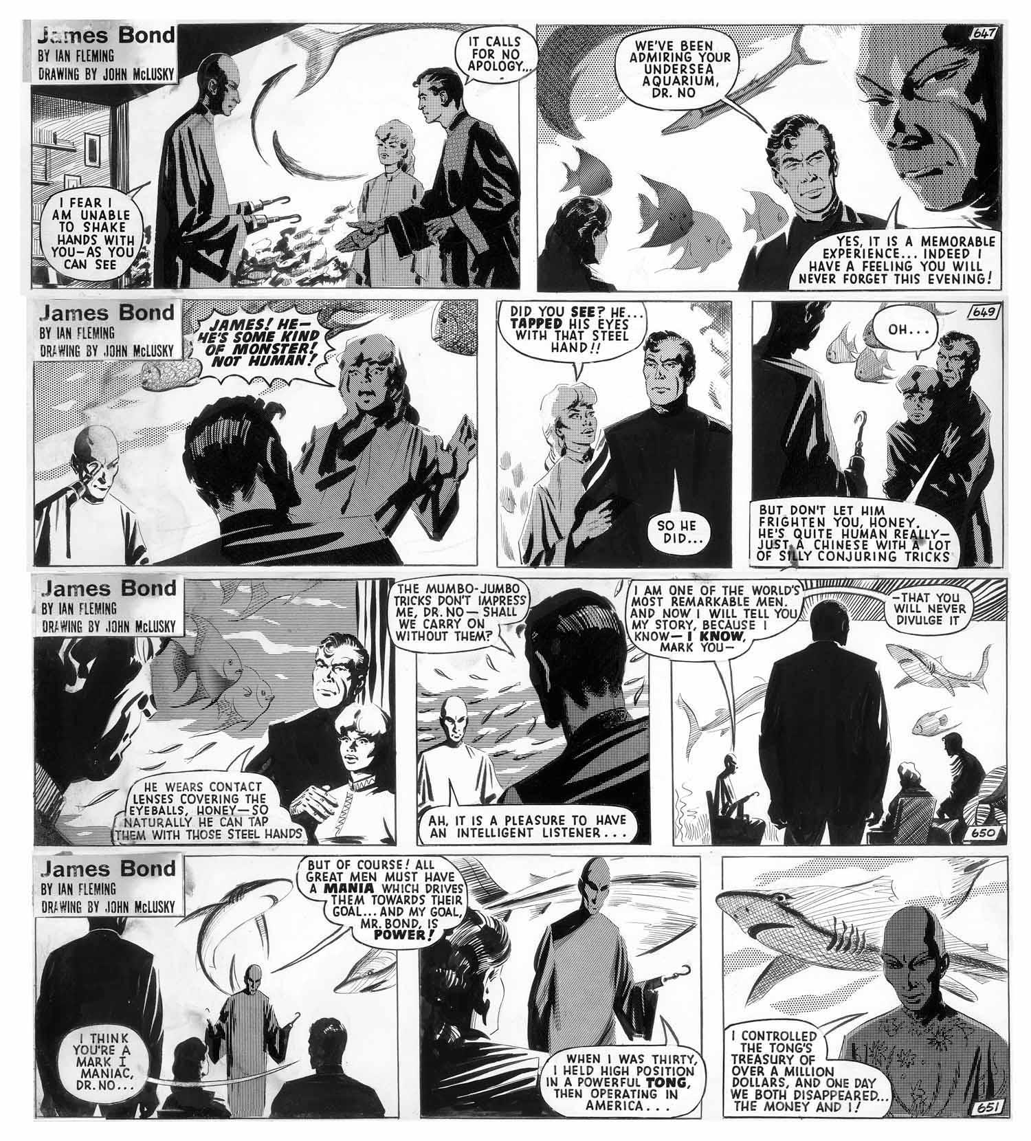 Quand Bond et Honey rencontrent le docteur No... (encrage original par J. McLusky)