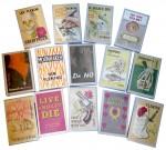 Couvertures des premières éditions des différents romans et recueils de nouvelles signés par Ian Fleming (publications de 1953 à 1966). Ces éditions valent aujourd'hui une fortune !