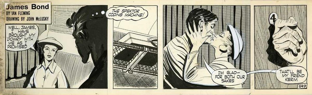 """Bons baisers... dans l'Orient-Express ! (Strip original n° 549 pour """"Bons baisers de Russie"""" en 1960)."""