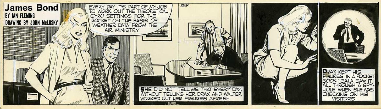 """Strip original n° 259 pour """"Moonraker"""" (1959) : de la manière de jouer avec les formes, le cadre et le point de vue..."""