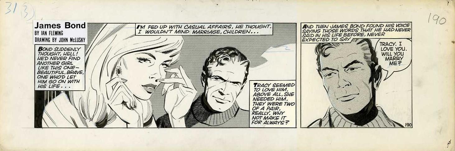 "Strip original n° 190 par John McLusky pour ""On Her Majesty's Secret Service"" (1965)"