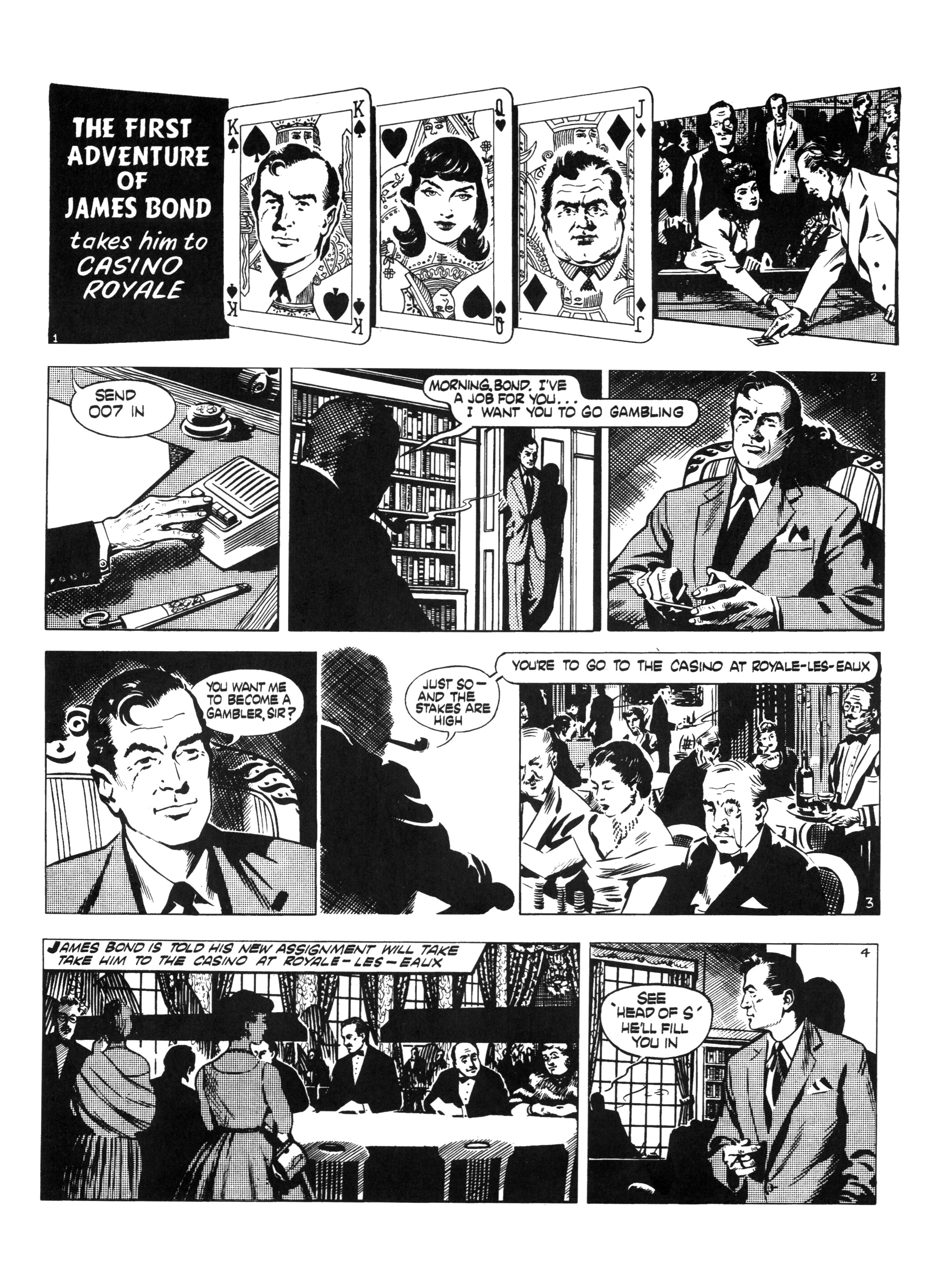 Les premier strips de Casino Royale selon Anthony Hern et John McLusky (juillet 1958)