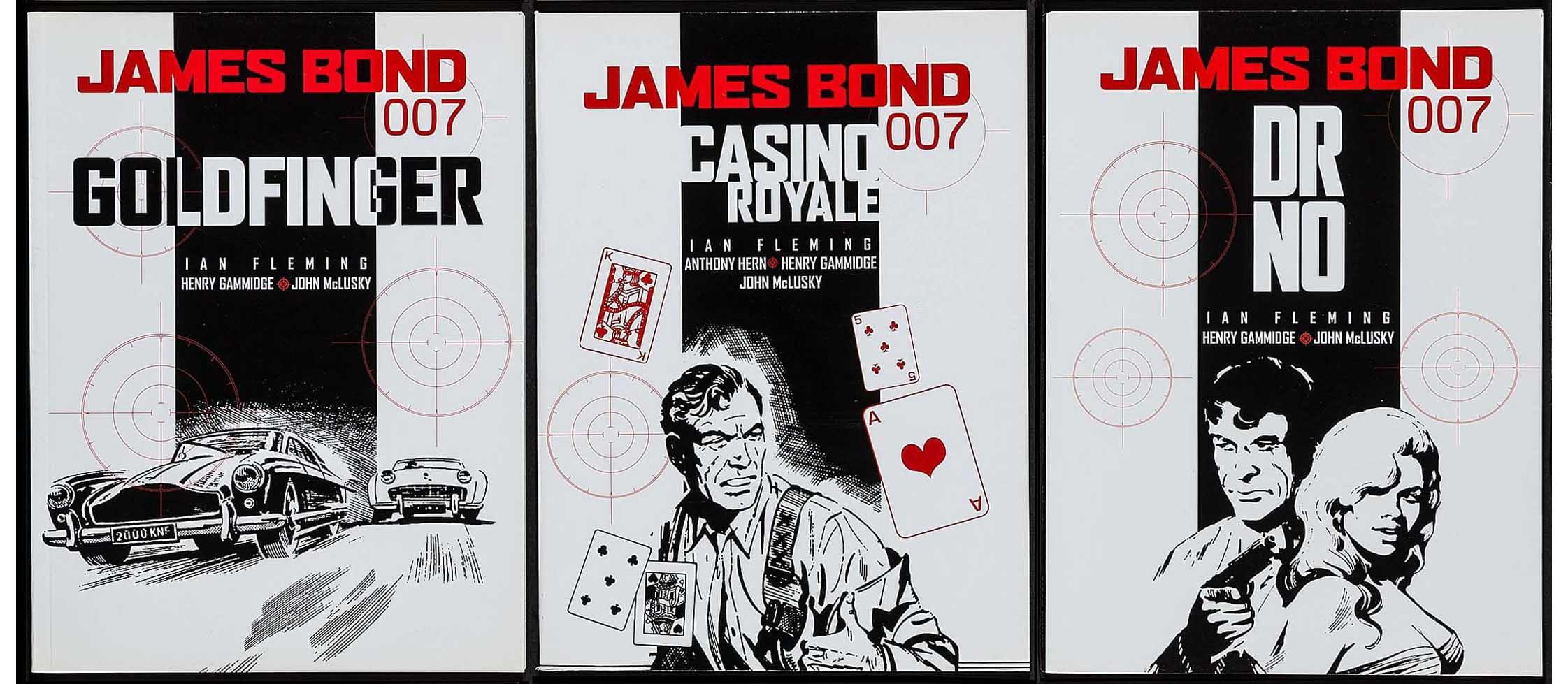 """Couvertures pour la deuxième anthologie Titan Books : """"Goldfinger"""" (T4 en novembre 2004), """"Casino Royale"""" (T5 en février 2005) et """"Dr. No"""" (T6 en mai 2005)."""
