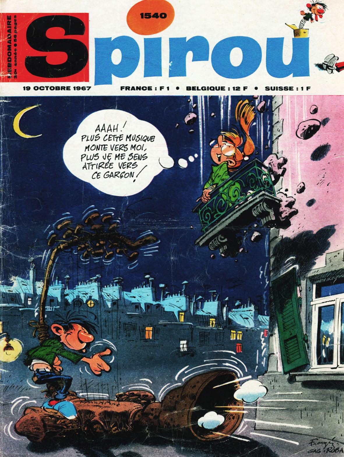 Couverture de Franquin pour le journal Spirou n°1540 (19 octobre 1967)