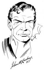 Au fil des années, le physique de 007 (ici dans un portrait datant de 1965) selon John McLusky évoluera pour se rapprocher de celui de Sean Connery, acteur très proche du trait de certaines cases dessinées entre 1960 et 1962.