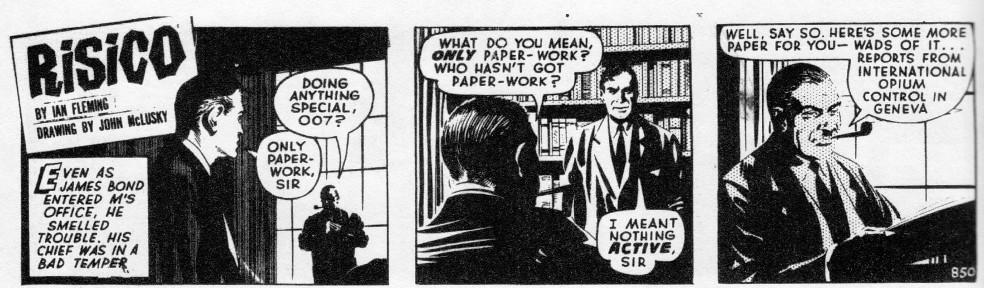 """Strip introductif pour """"Risico"""" (1961), nouvelle où Bond finit par affronter le trafiquant Kristatos."""