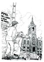 La première étape de la couverture : un dessin de Fawzi, d'après un crayonné de Jean-Luc Loyer.