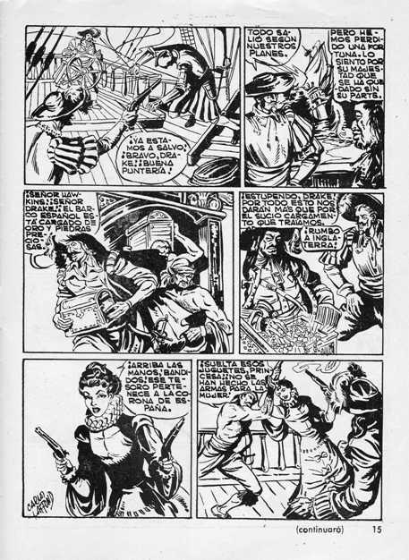« Drake el pirata » pour Flecha y Blanco en 1955.