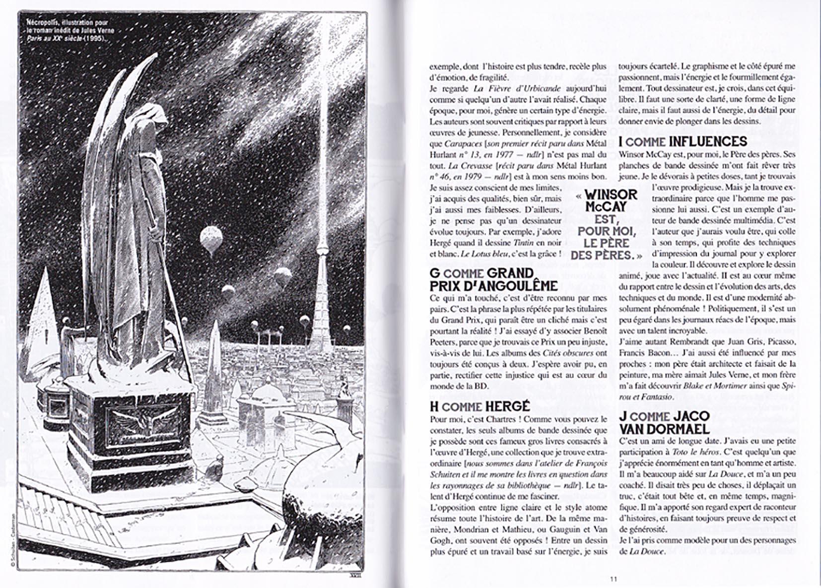 Extrait : pages 10 et 11 (Abécédaire Schuiten proposé par Laurent Assuid)