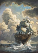 Recherche d'ambiance, en référence aux peintures marines d'époque.