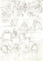 Crayonné et version finalisée de la planche 5 (Le Lombard 2016)