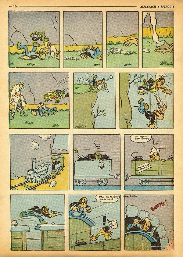 Première aventure de Lucky Luke, publiée dans l'Almanach 47 du journal Spirou.