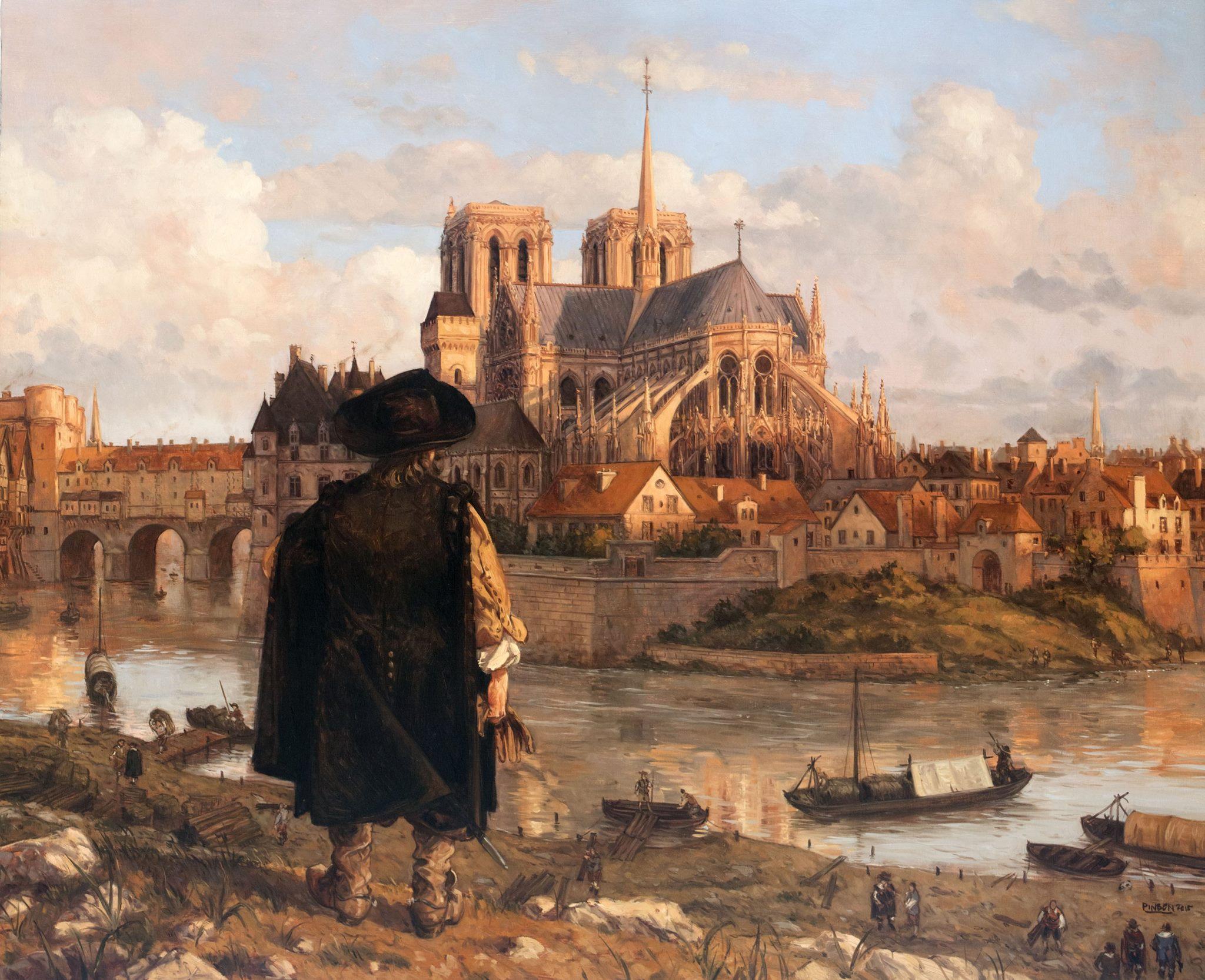 Notre-Dame 1628 - Huile sur toile par Ugo Pinson