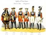 Uniformes des mousquetaires du roi, 1660-1814. Illustration par Charles Vernier (1831-1887)