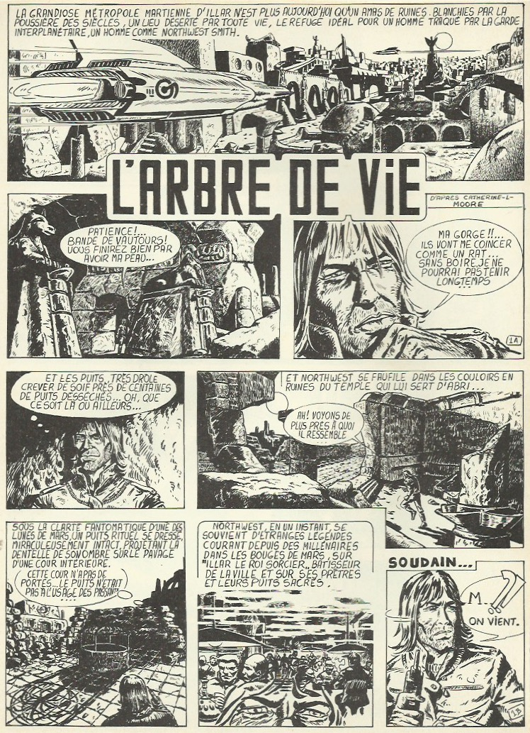 Première page de « L'Arbre de vie », d'après Catherine Lucille Moore, au n° 10 de Curiosity magazine, en octobre 1974.
