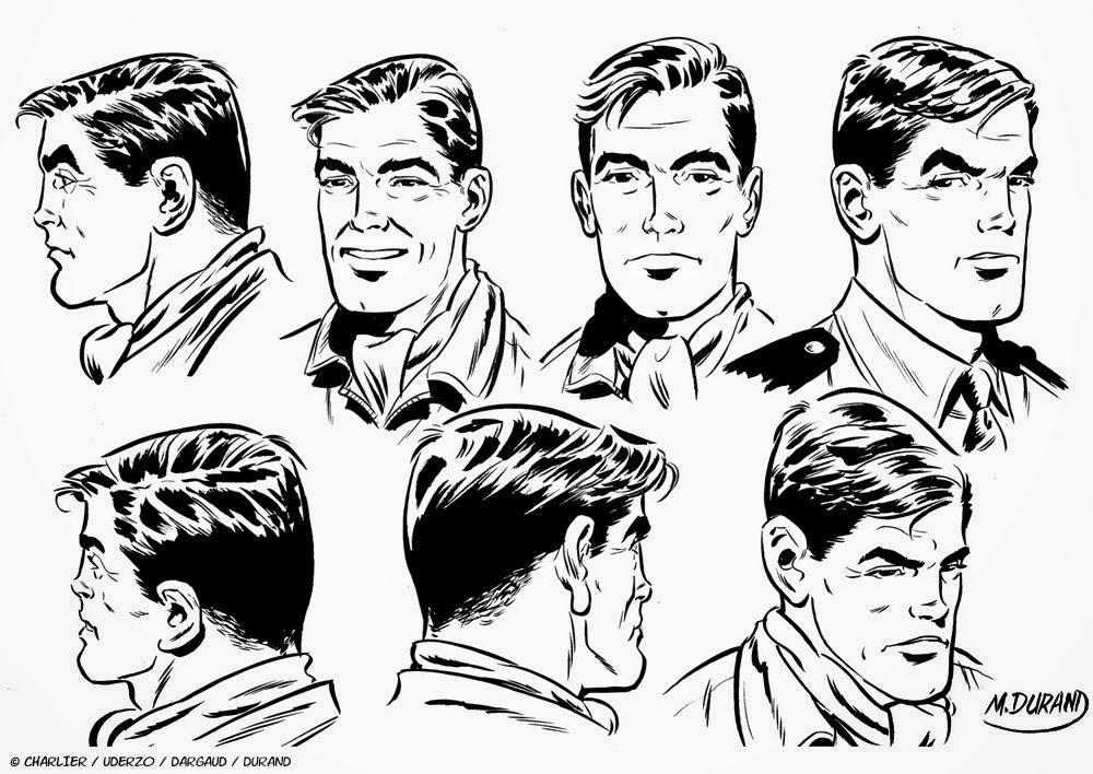 Planche de recherches sur le visage de Michel Tanguy par Matthieu Durand.