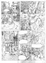 L'arrivée d'un provincial à Paris ; crayonné original par F. Blier pour la planche 4