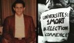 Malik Oussekine et slogan employé lors d'une manifestation universitaire en 1986
