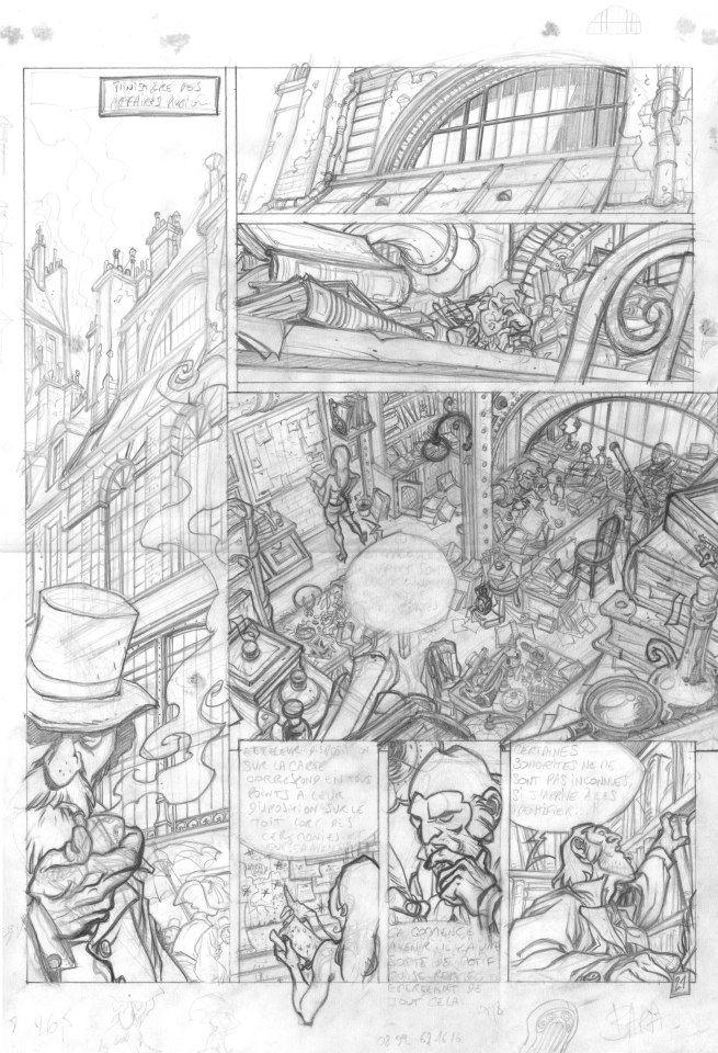 Crayonné et encrage de Nicolas Bara pour la planche 21