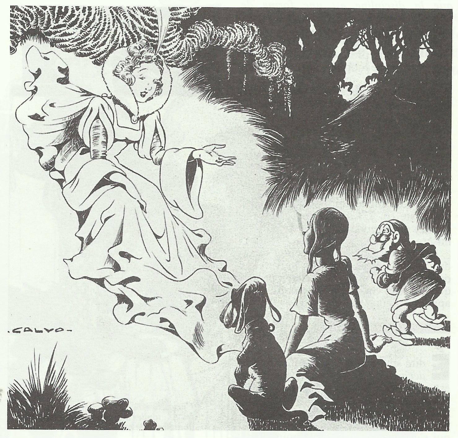 Original d'une couverture de Calvo pour le n° 98 de Fillette, daté du 27 mai 1948.