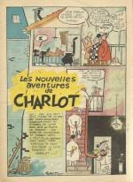 Première page des nouvelles aventures de Charlot illustrées par Forest : « Charlot a de la chance », en 1955.
