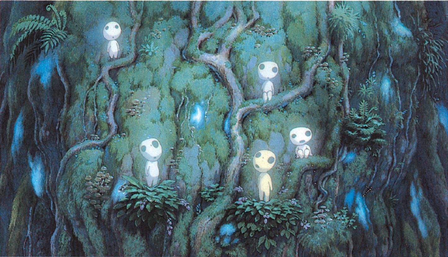 """Les """"êtres des bois"""" dans le film Princesse Mononoke (Studio Ghibli, 1997)"""