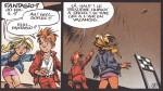 """Seccotine/Sophie dans """"Machine qui rêve"""" (planche 7, cases 6 et 7 - Dupuis, 1998)"""