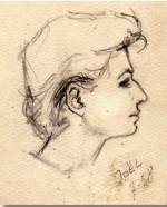 Josette Baujot croquée par Jo-El Azara en 1958.