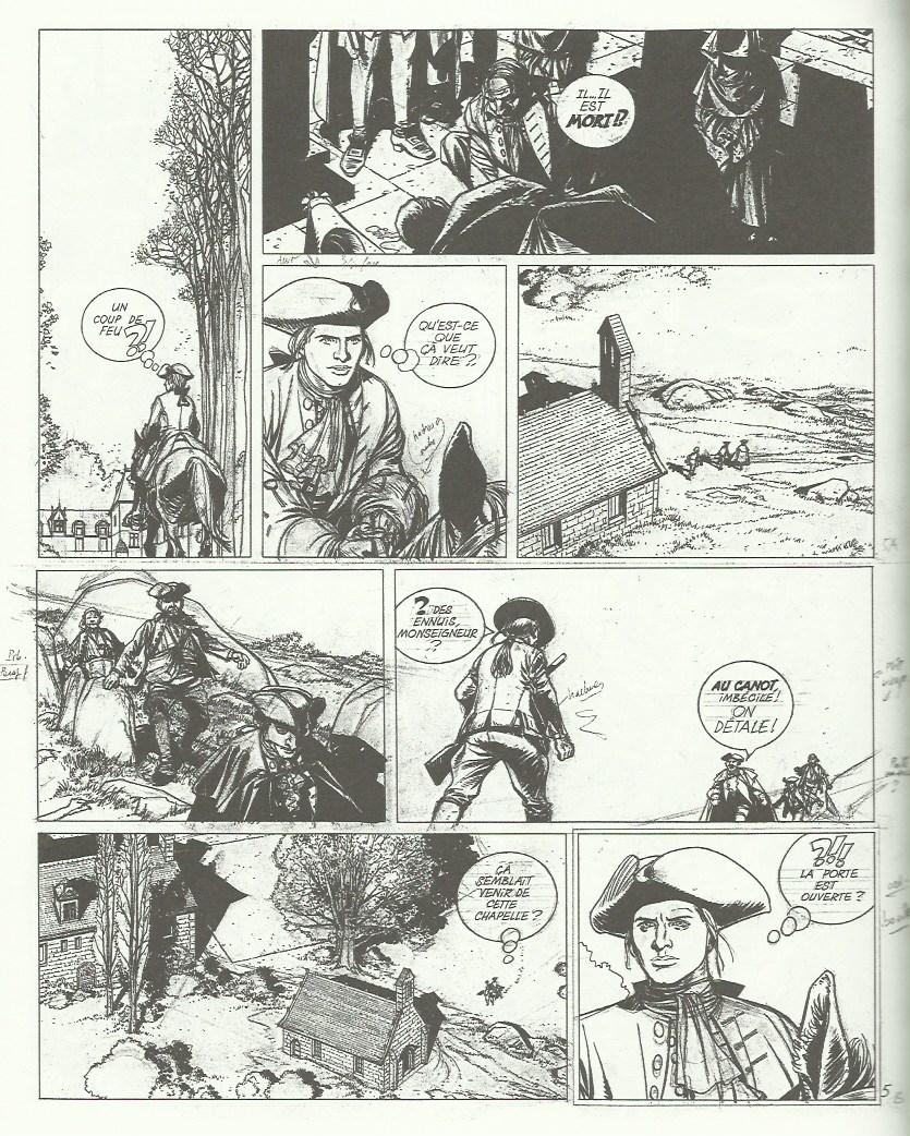 Planche originale du début d'une aventure inédite de « Barbe-Rouge » par Patrice Pellerin (remaniée pour le tome 1 de « L'Épervier »).